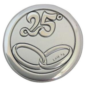Blasone tondo in argento 25 anni matrimonio fedi cm.0,3h diam.2,9