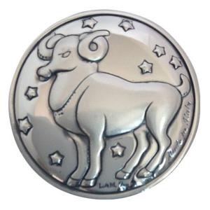 Blasone zodiaco ariete in argento cm.0,3h diam.3