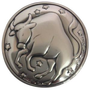 Blasone zodiaco toro in argento cm.0,3h diam.3