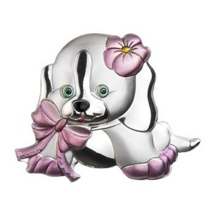 Blasone cane rosa piccolo in argento cm.4x3,3x0,3h