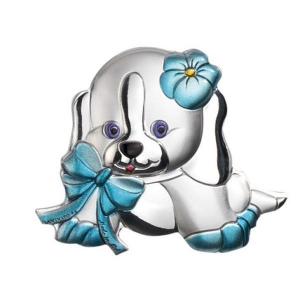 Blasone cane azzurro piccolo in argento cm.4x3,3x0,3h