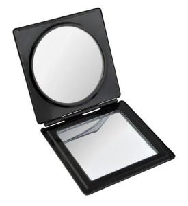 Specchietto alluminio nero lucido cm.7x7,2x1h