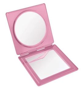 Specchietto alluminio rosa lucido cm.7x7,2x1h