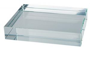 Fermacarte da scrivania in vetro bianco cm.8x10x1,9h