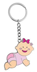 Portachiavi Bimba Bambina Rosa cm.10x5x0,5h