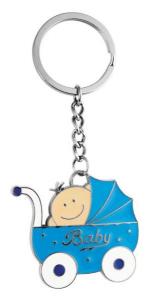 Portachiavi carrozzina azzurra bimbo cm.10x4,5x0,5h