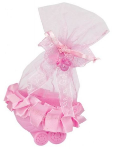 Bomboniera sacchettino carrozzina rosa cm.4,5x7x12,5h