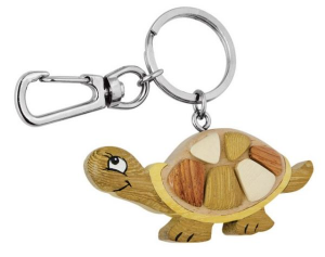 Portachiavi ecologico tartaruga fatto a mano cm.6,5x6,5x2h