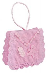 Sacchettino bomboniera tessuto rosa cm.2,5x8x7h