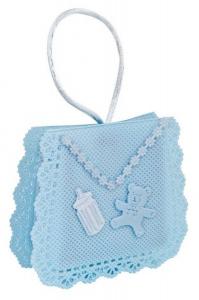 Sacchettino bomboniera tessuto azzurro cm.2,5x8x7h