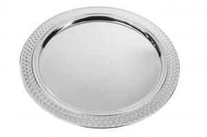 Vassoio rotondo in metallo lucido cm.37,5x37,5x1h