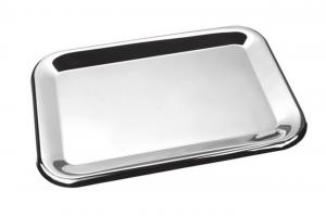 Vassoio rettangolare in metallo lucido cm.23,3x15,5x1h