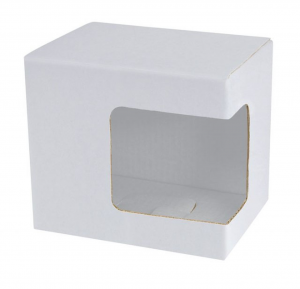 Scatola bianca finestra d'angolo per tazze cm.11,5x8,5x10,2h