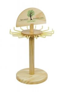 Espositore per portachiavi in legno neutro naturale cm.20,5x20,5x34,5h