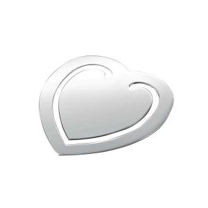 Segnalibro cuore argento silver plated cm.5x5,5x0,2h