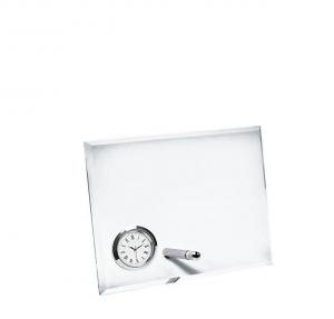 Vetro orizzontale con orologio cm.17x5x13h