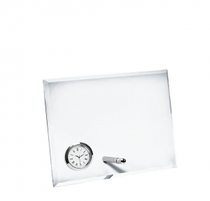 Vetro orizzontale con orologio cm.19x5x14h