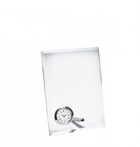 Vetro verticale con orologio cm.13x5x17h