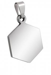 Pendente esagono piccolo acciaio cm.1,9x2,5x0,2h