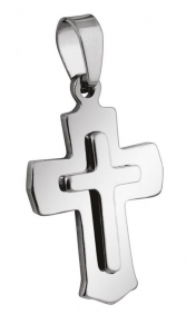 Pendente croce piccola acciaio cm.1,9x3x0,2h
