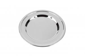 Vassoio rotondo in metallo lucido cm.10,75x10,75x1h