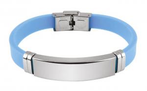 Bracciale acciaio eva azzurro cm.20x1,2x0,7h