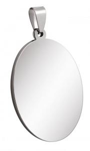 Pendente ovale grande acciaio cm.2,8x4,3x0,2h
