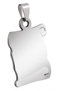 Pendente pergamena media acciaio cm.2,1x3,2x0,2h