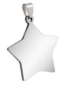 Pendente stella acciaio cm.3,1x3,4x0,2h