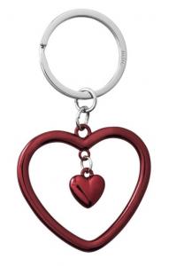 Portachiavi cuore rosso cm.9,5x5,5x0,4h