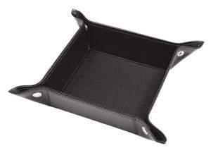 Vuota tasche vassoio gioielli in pelle sintetica nera cm.16x16x4h