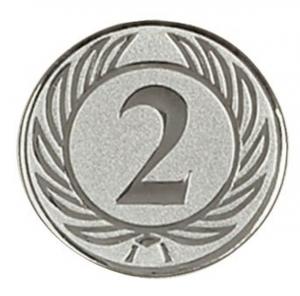 Medaglietta Piastrina Secondo color argento cm.0,1h diam.2,5
