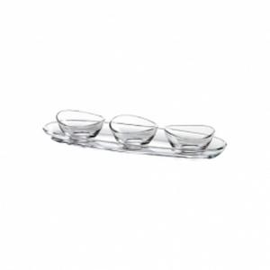 Set di 3 coppette in vetro con piatto cm.30x9,5
