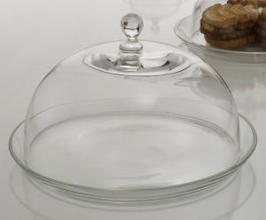 Piatto in vetro cm 29 con campana cupola cloche in vetro cm 26 cm.20h diam.29