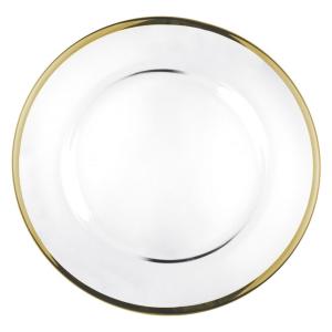 Sottopiatto piatto in vetro Filo oro Zecchino cm.diam.32