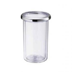 Termo bottiglia plastica trasparente doppia parete ghiera cromata cm.22h diam.10