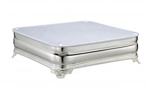 Vassoio sottotorta portadolce argentato argento quadrato con piano in plexiglass argento cm.35x35x11,5h