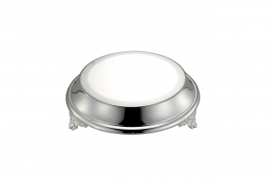 Vassoio sottotorta portadolce argentato argento tondo con piedi stile Cardinale cm.8,5h diam.27,5