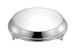 Vassoio sottotorta portadolce argentato argento tondo con piedi stile Cardinale cm.9h diam.48