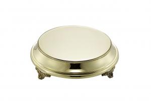 Vassoio per torta in ottone stile Perles cm.9h diam.38