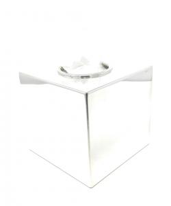 Porta kleenex salviette da bagno argentato argento modello quadro Inglese cm.13,5x13,5x13h