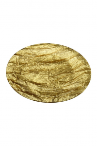 Piatto Tondo in Plexiglass texture carta stroppicciata Oro cm.diam.33