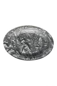 Piatto Tondo in Plexiglass texture carta stroppicciata Argento cm.diam.33