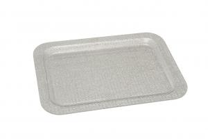 Vassoio rettangolare in plexiglass Texture a rete Argentata cm.41,5x29,5x2h