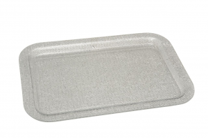 Vassoio rettangolare in plexiglass Texture a rete Argentata cm.47,5x32x2h