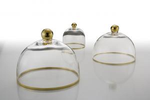 Campana in vetro con bordo e pomello oro cm.14,5h diam.14,5