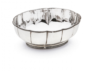 Ciotola Ovale Argentata Argento SHEFFIELD Stile Perles cm.21x17x7h