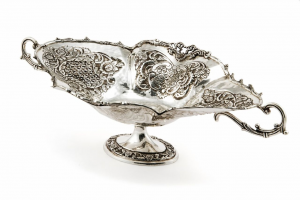 Fruttiera ovale argentato argento sheffield stile cesellato cm.63x34x19h