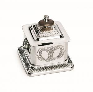 Zuccheriera rettangolare argentato argento Sheffield stile inciso cm.9h