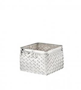 Vaso quadrato per orchidee in metallo argentato argento stile metal tisse cm.18x18x18h